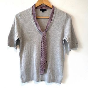 Tommy Hilfiger  short sleeve gray sweater with tie